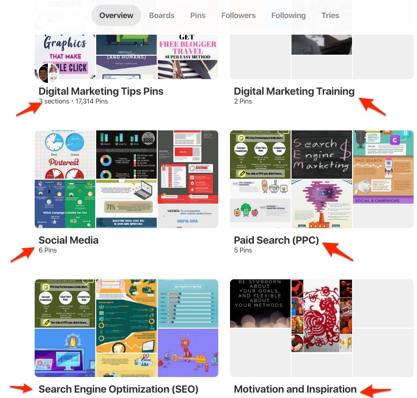Pinterest Tips For Business Users boards