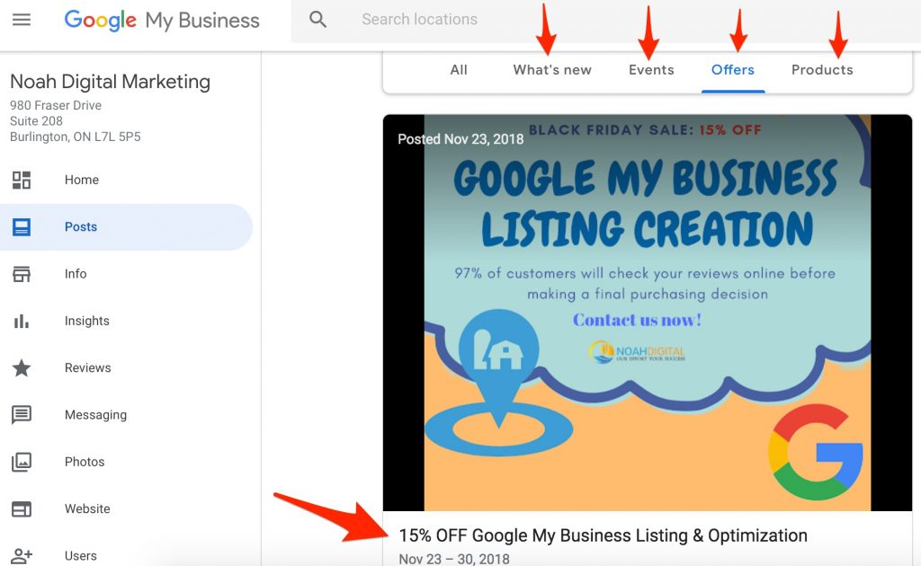 Google My Business Posts Offers Products   Noah Digital